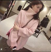 Turtleneck Long Pink Sweater Oversize Knitted Chic Femme Winter Warm Top 2018 Solid Pullover Women's