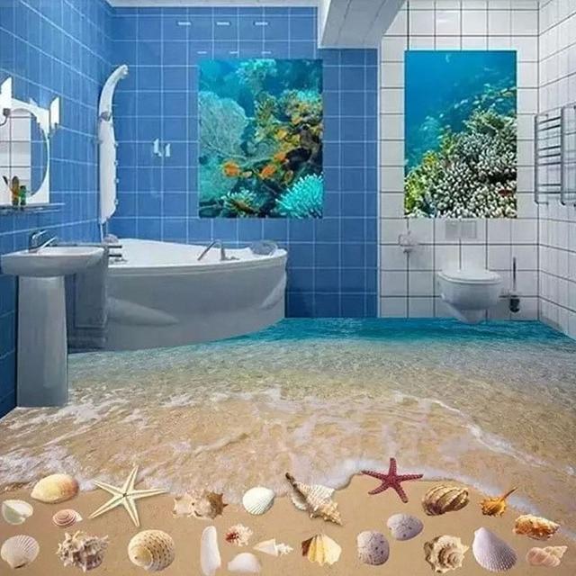 60x60cm 3D Beach Shell Bathroom Floor Tiles 3D Art Decoration Tile Toilet/ Bathroom/Bedroom Floor/Wall Tiles