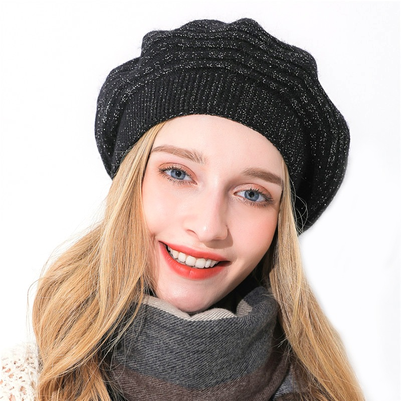 1235b1ce2 Xthree Women winter hat Cashmere beret hat Bright silk thread knitted hat  Rabbit fur beret for