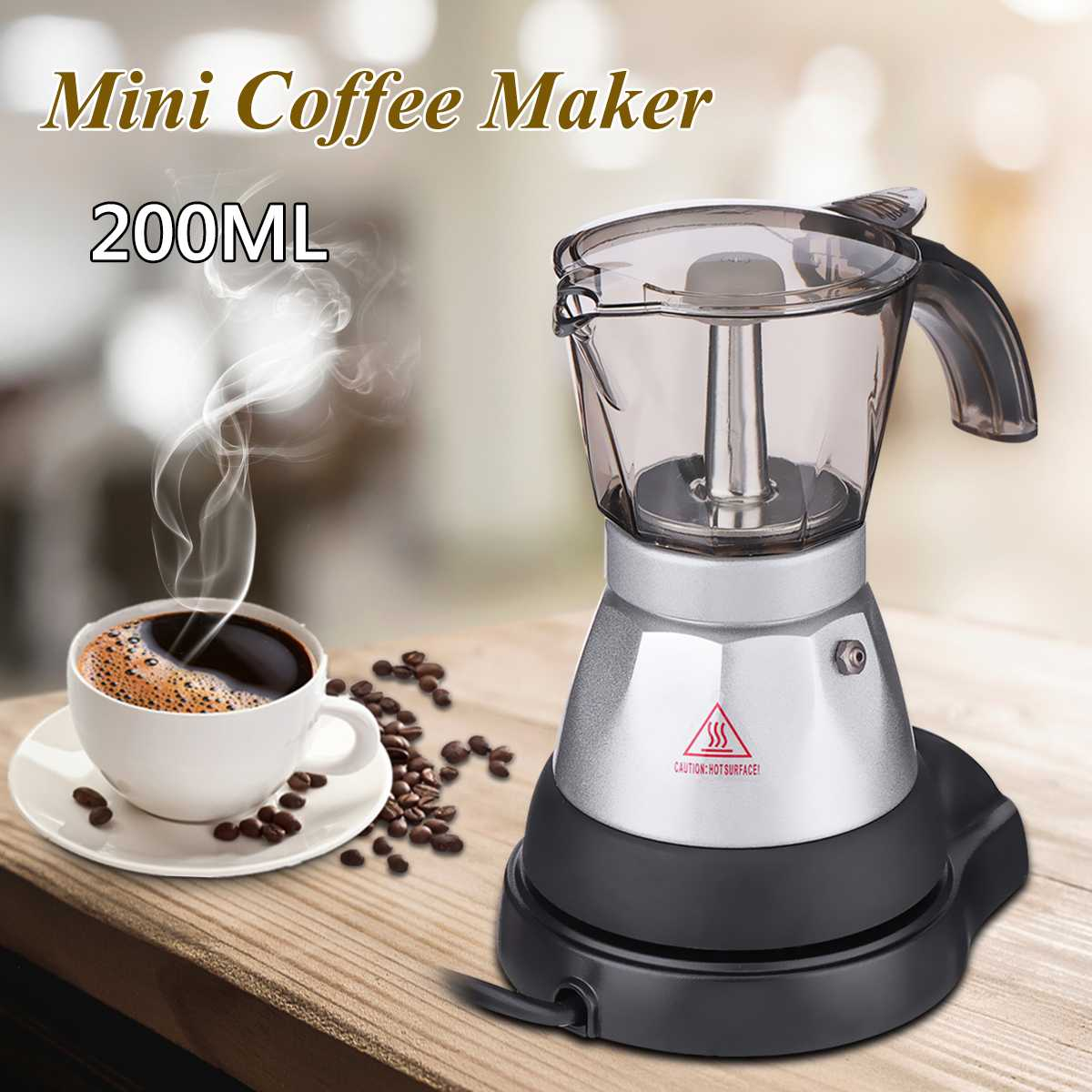 4 Cup 2pcs Electric Espresso Coffee Maker Machine Percolator Moka Pot Brewer Coffee Makers With Coffee Pad