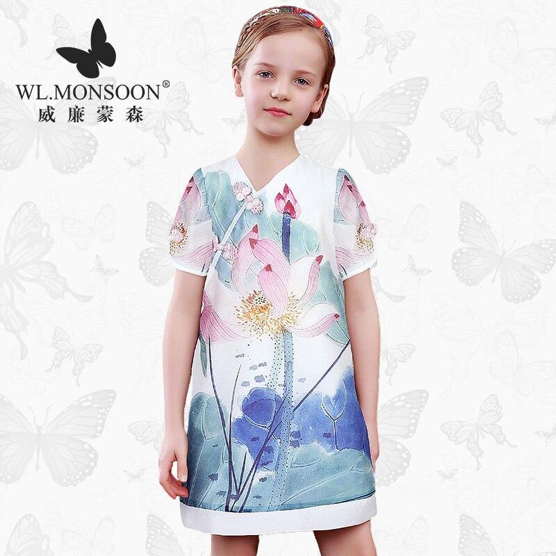 WL. MONSOON fille robe d'été mince floral été enfants cheongsam robe de princesse mince femme trésor robe
