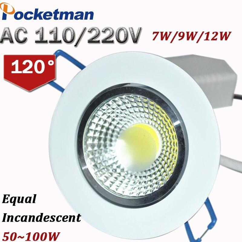 12 Вт 9 Вт 7 Вт светодиодные светильники COB чип светильник Встраиваемый ceilinglight Светодиодные пятно света лампы белый/ теплый белый светодиодны...
