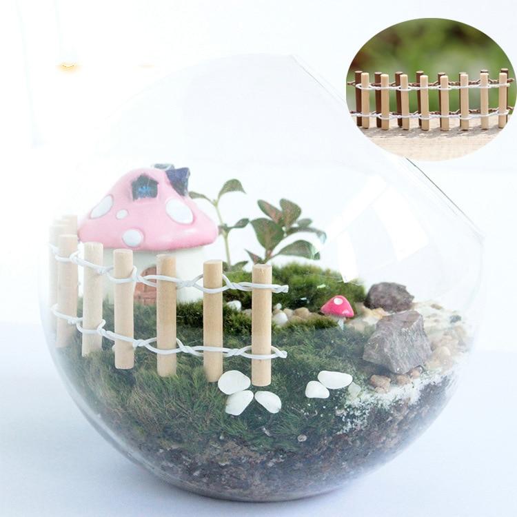 2 Pcs Mini Fence Craft Figurine Plant Pot Garden Ornament Miniature Fairy Garden Decor DIY
