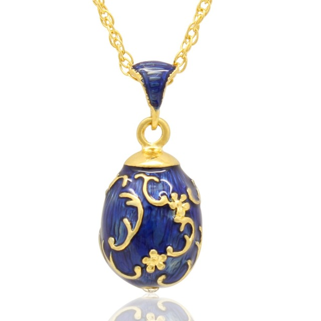 Suitable for european luxury brand necklace blue enamel flower suitable for european luxury brand necklace blue enamel flower faberge egg pendant necklace easter gift aloadofball Choice Image