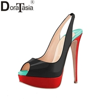 DoraTasia Legno Heel Patent Leather Scarpe Donna Estate delle Donne Backsling Peep Toe Sandali Della Piattaforma di Grande Formato 34-45