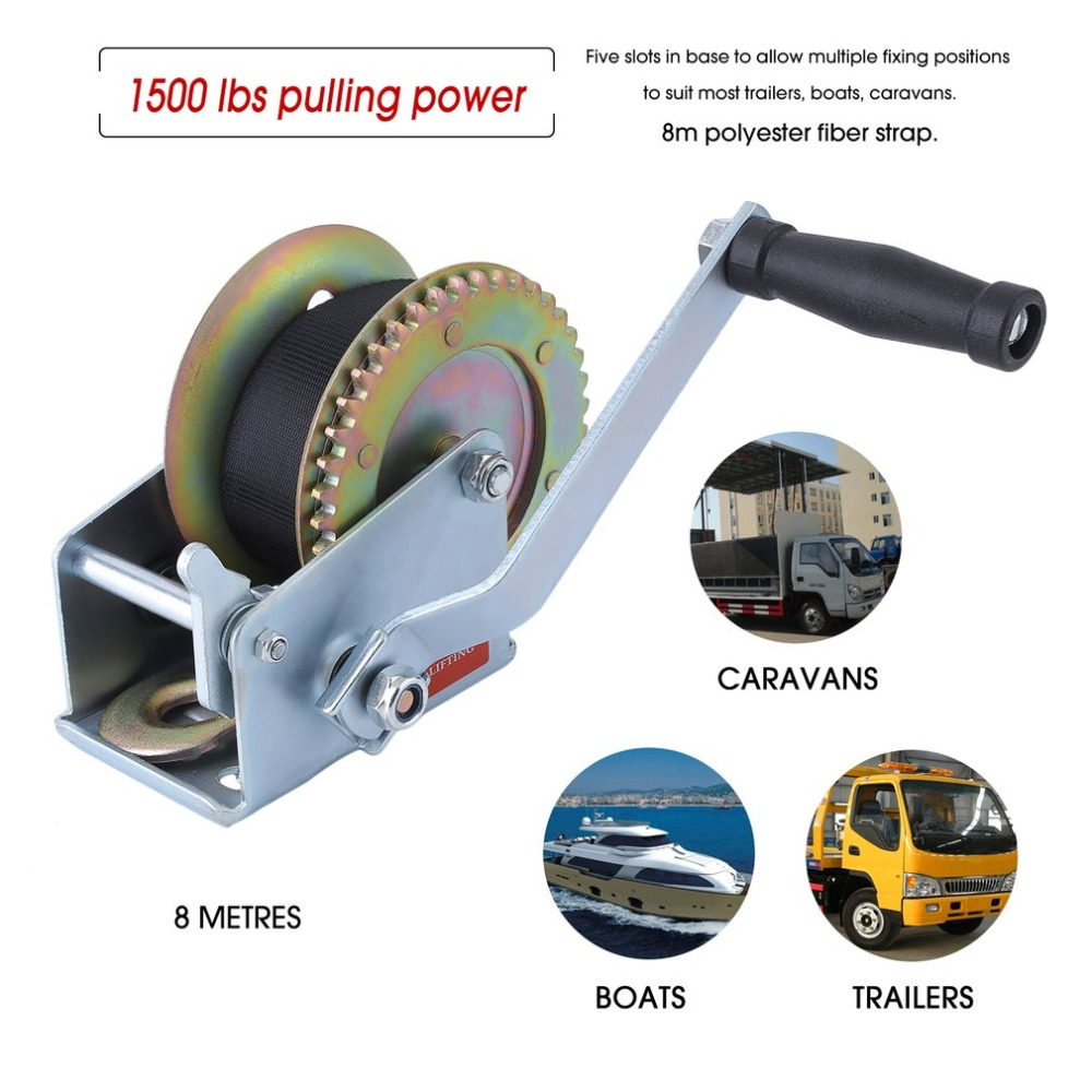 Manual 1500lbs*8m Polyester Fiber Strap Cable Hand Boat Trailer Winch Two Gears Puller Hand Tool Lifting Sling 2018 newest professional manual winch with strap 1500kg 8 meters boat trailer lifting sling universal car hand power puller