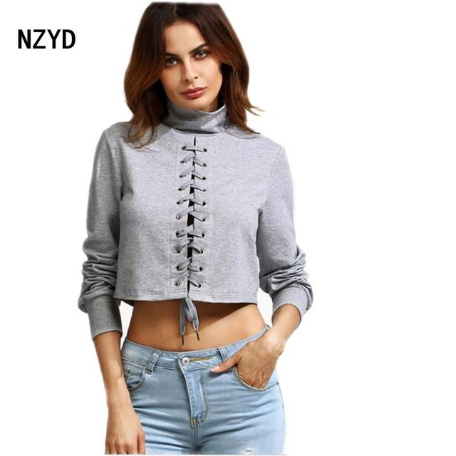 b64ff92b242 Latest Spring Autumn Fashion Women Tops Sexy Turtle neck Pullover Long  sleeve Render T-shirt Gray S-XL Size Short T-shirt YD02