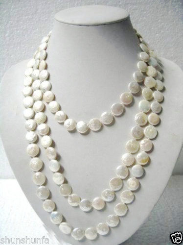 FREE SHIPPING>>>@ > Beautiful 11-12mm White Natural freshwater Coin pearls tie Necklace Long 65 jeweFREE SHIPPING>>>@ > Beautiful 11-12mm White Natural freshwater Coin pearls tie Necklace Long 65 jewe