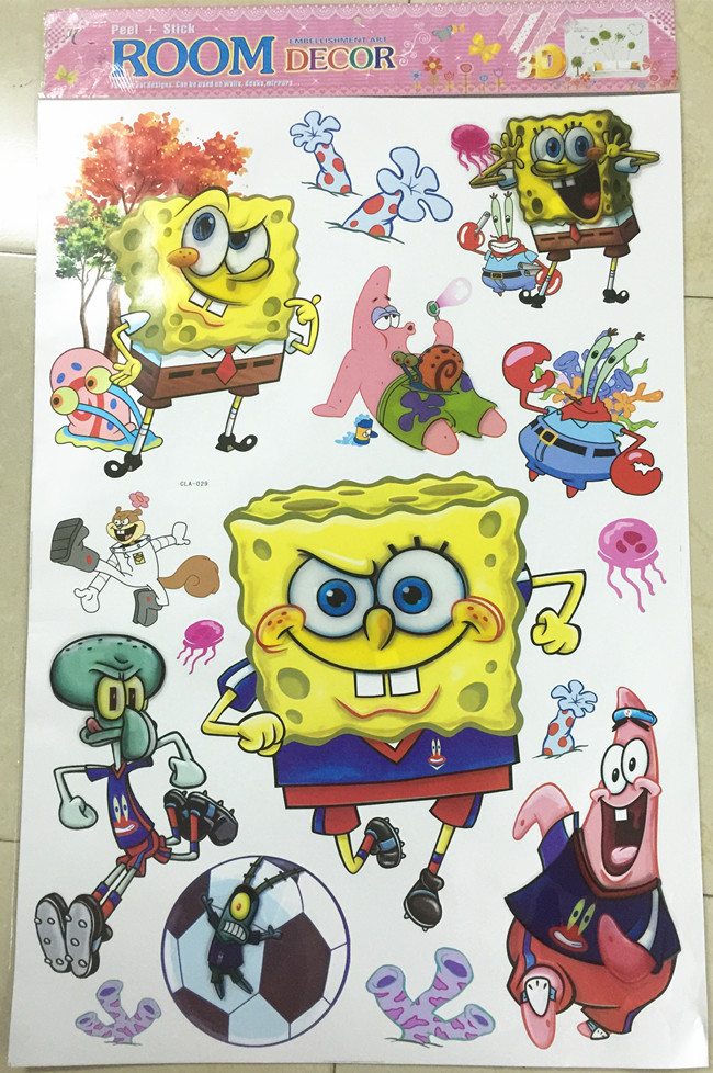 Aliexpresscom Buy D Cartoon Spongebob Wall Sticker Home - Spongebob room decals