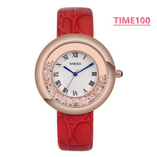 Top Quanlity Ladies' Brand Watches Three-pointer Diamond Quartz Watch Rhinestone Leather Strap Women Dress Watch W023