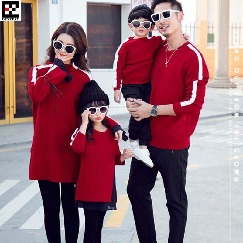 50p Kid Parent-child Sweaters Man&Boy Family Matching Outfits Knitwear,Women&Girl Pleated Chiffon Stitching O Neck Knitted Tops