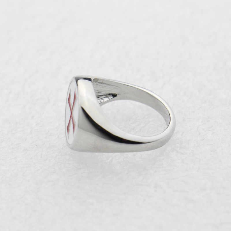 ใหม่สีแดงแหวน Gamer Knights Templar Silver PARTY แหวนแฟชั่นเครื่องประดับสแตนเลส Cross CUSTOM Assassins แหวนของขวัญ