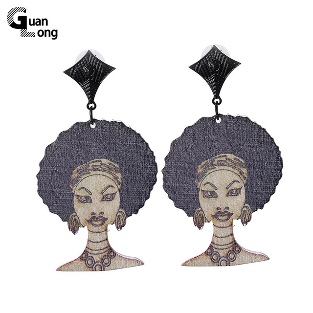 Vintage Chic Printing Figure Model Indian Women Earrings Simple Alloy Charm Wooden Afro Earrings Jewelry 6 Colors
