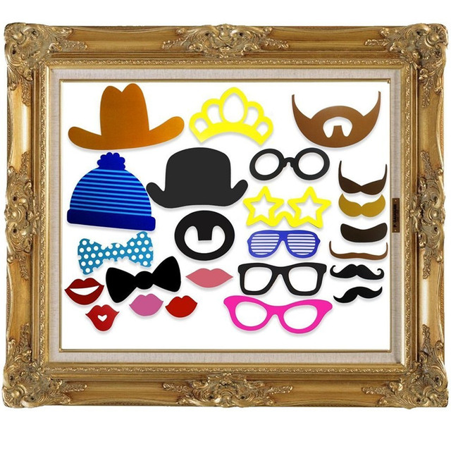 24 Pieces Photo Booth Props Vintage Wedding Decoration Kids Birthday Gift Party Funny Mask Photobooth Event