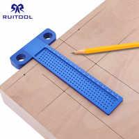 Woodworking T Ruler 160mm Hole Positioning Crossed Marking Gauge Aluminum Alloy Metric Scriber Measuring Tools Carpenter