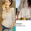 2014 S-XXL flaco hombrera precious shirt mosaico encaje cardigan sunscreen camisa del aire acondicionado