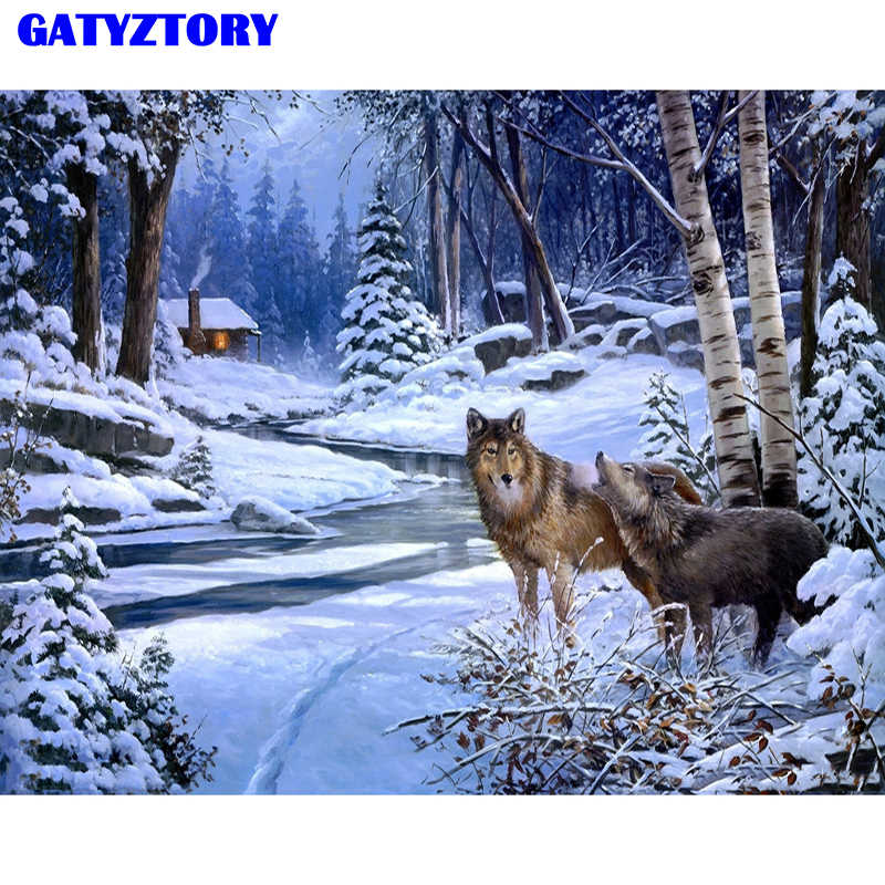 Frameless Snow Wolf Animals DIY Painting By Numbers Modern Wall Art Picture Acrylic Paint For Unique Gift On Wall 40*50cm Arts