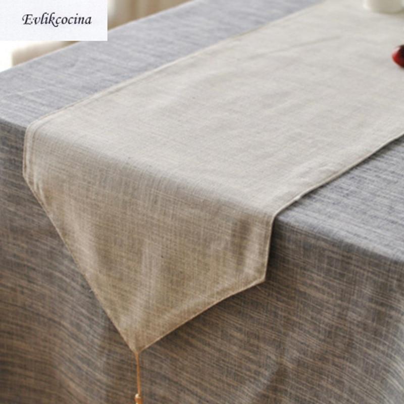 Free Shiping Light Gray Table Runner Linen Cotton Corredor De Mesa Solid Color Tafelloper Gris Caminos Tafel Loper Grijs Chemin In Runners From Home