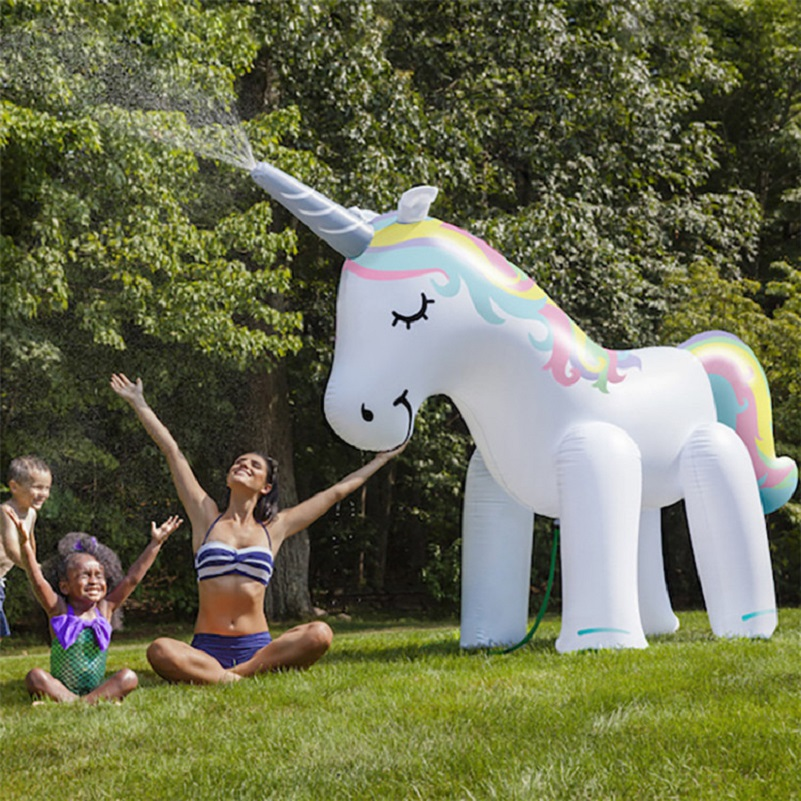 Rooxin 135 cm gonflable licorne eau Spray piscine jouets natation flotteur extérieur fontaine plage fête enfants d'été jouets