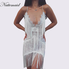 NATTEMAID deep V Neck strap sexy Women Lace Tassel mini Dresses Summer  night Club 7dcafe7e7ae7