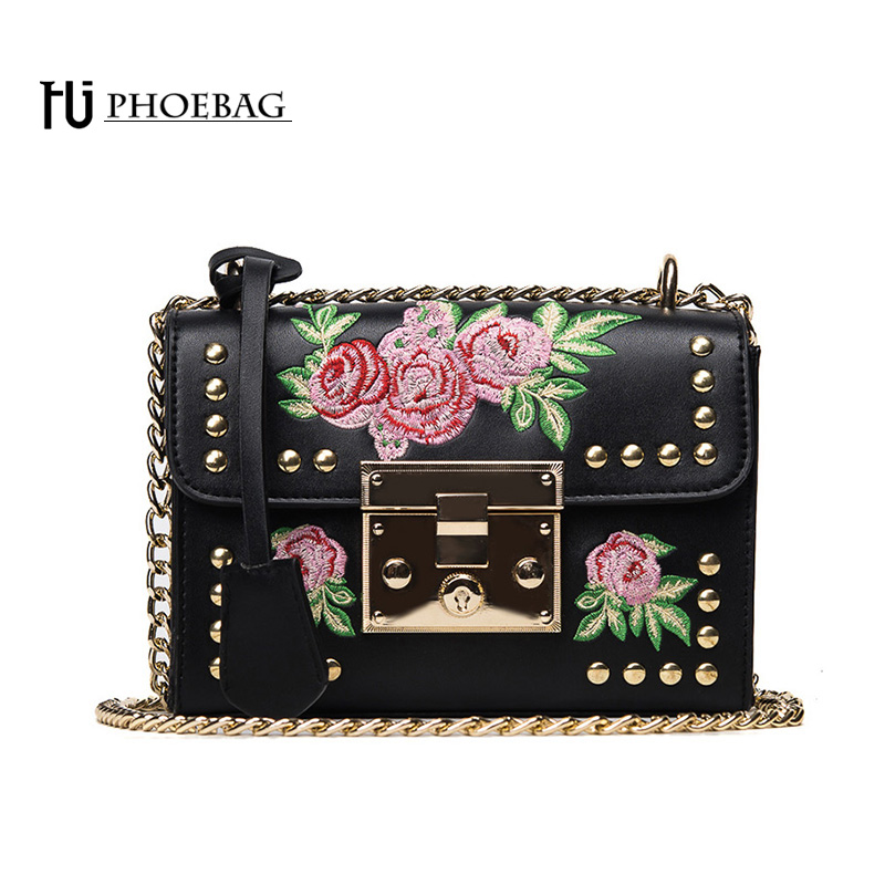 HJPHOEBAG Brand women bag Fashion lady handbag floral Embroidery High quality PU leather hand caught package HJ-821 yuanyu 2018 new hot free shipping real python leather women clutch women hand caught bag women bag long snake women day clutches