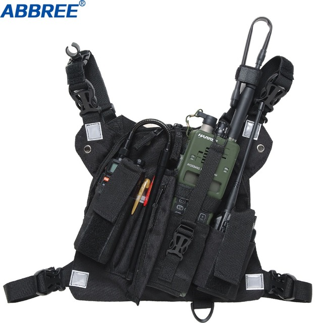 ABBREE Radio Chest Harness Chest Front Pack Pouch Holster Vest Rig for Two Way Radio Walkie Talkie(Rescue Essentials)