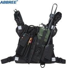 ABBREE Radio uprząż w klatce piersiowej saszetka do noszenia z przodu etui kabura kamizelka Rig do dwukierunkowego radia Walkie Talkie (Rescue Essentials)