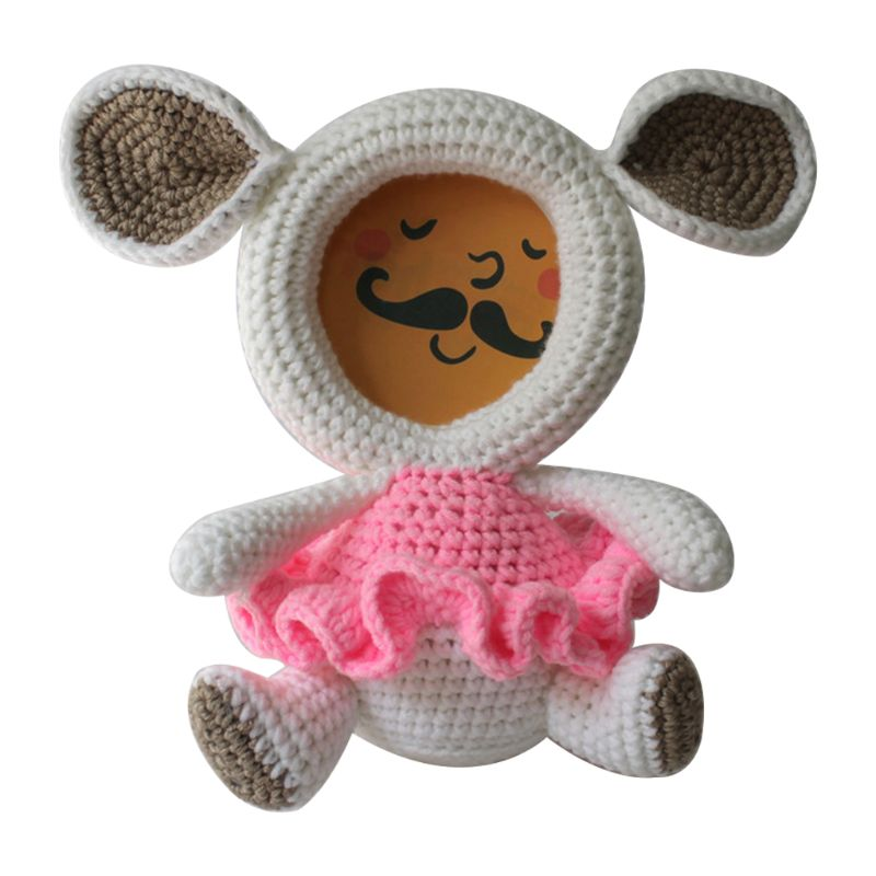 Photo Frame Baby Photos Storage Cover Cartoon Woolen Doll Knitted Animal Frames Creative Kids Children Home Decoration Standing