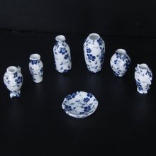1/12 Dollhouse Miniatures Ceramics Porcelain Vase Blue Vine -7 piece(China)
