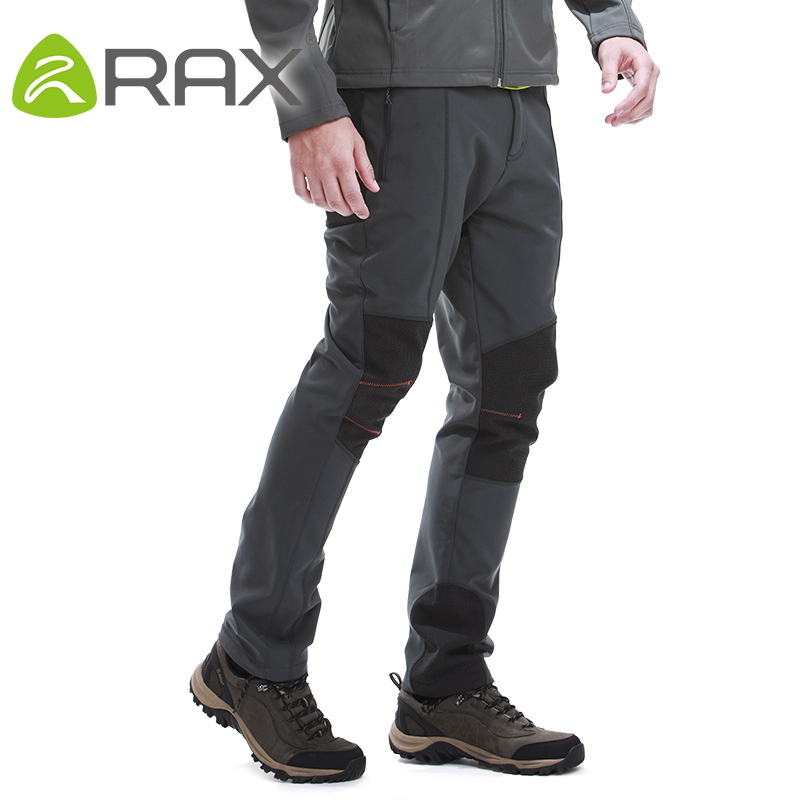 Rax Men Waterproof Hiking Pants Windproof Outdoor Sports Warm Soft Shell Hiking Camping Winter Pants Men 42-1M017 brand new autumn winter men hiking pants windproof outdoor sport man camping climbing trousers big sizes m 4xl free shipping