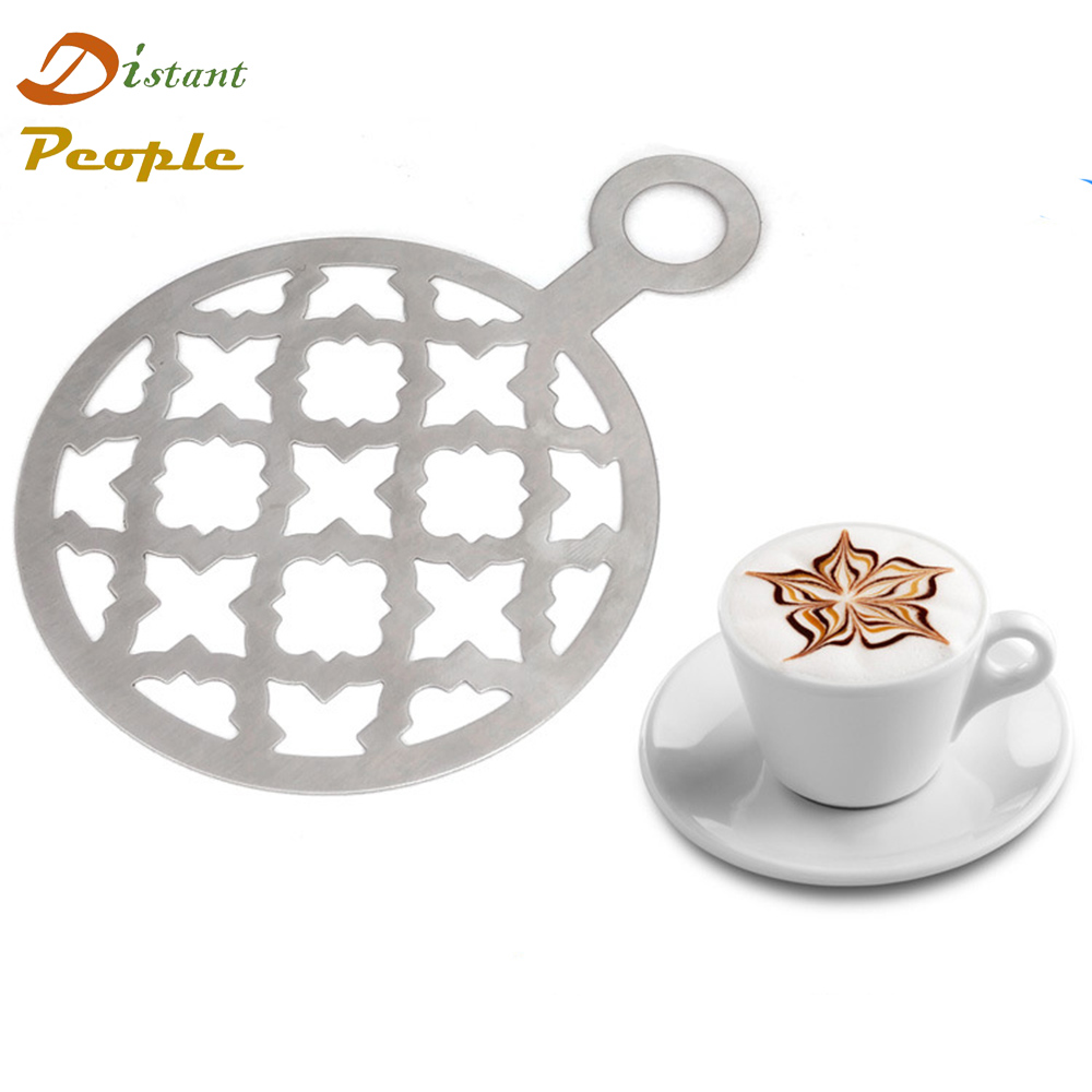 1pc Stainless Steel Coffee Latte Cappuccino Barista Art Stencils Cake Duster Templates Coffee Tools DIY Coffee Printing Mold