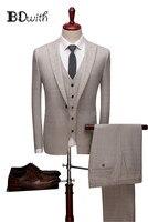 Бежевые облегающие мужские костюмы остроконечный воротник на одной пуговице, костюмы из 3 предметов (куртка + брюки + жилет), мужские костюмы,