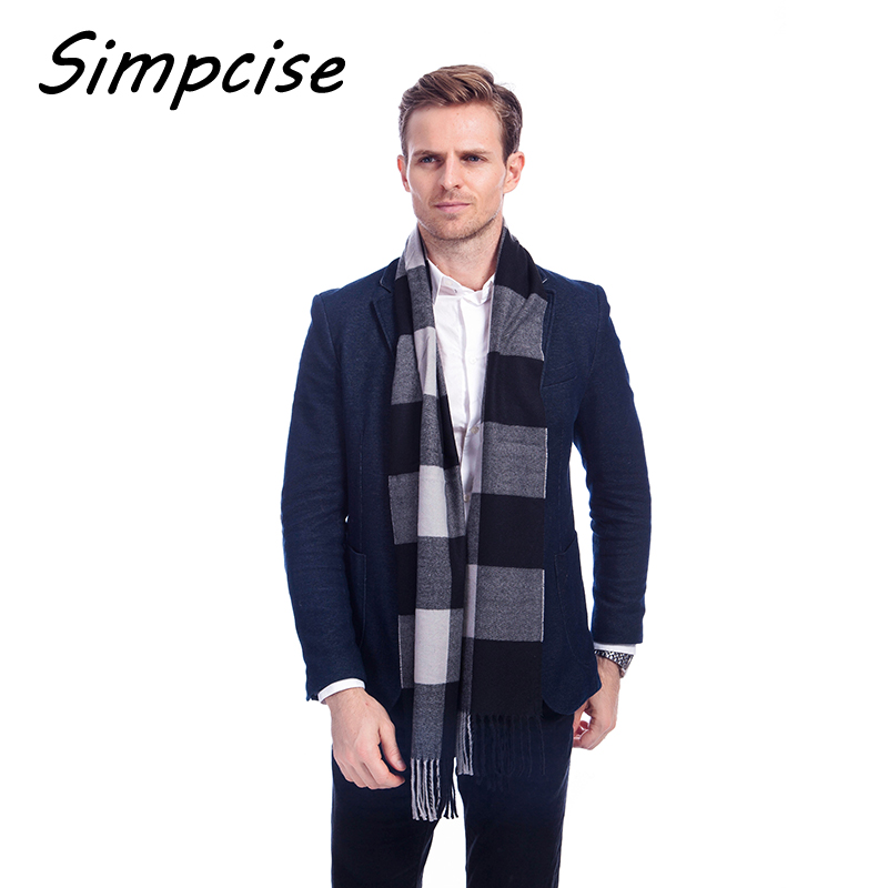 Simpcise New Winter Man Cashmere   Scarf   Light Weight Long Soft Acrylic Plaid   Scarf     Wrap   Shawl   Scarf   Style Man   Scarves   A3A17535