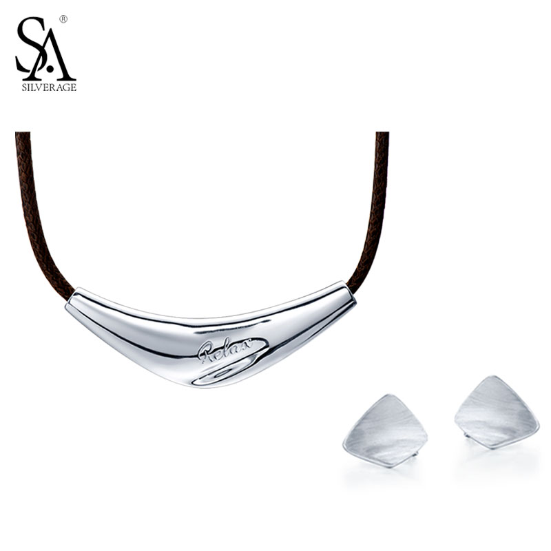 SA SILVERAGE 100% 925 Sterling Silver Jewelry Sets for Women Unique Personality Earrings Necklaces Pendants Jewelry Set sa silverage 2018 women twelve constellations choker pendants necklaces personality fashion trend lettering chain necklaces