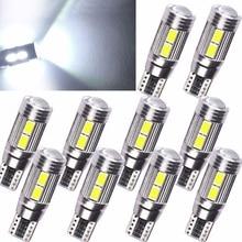10PCS White T10 5630 10 SMD LED Canbus Light Error Free Car Side Wedge License Plate Light 12V Super Bright Lamp цена 2017