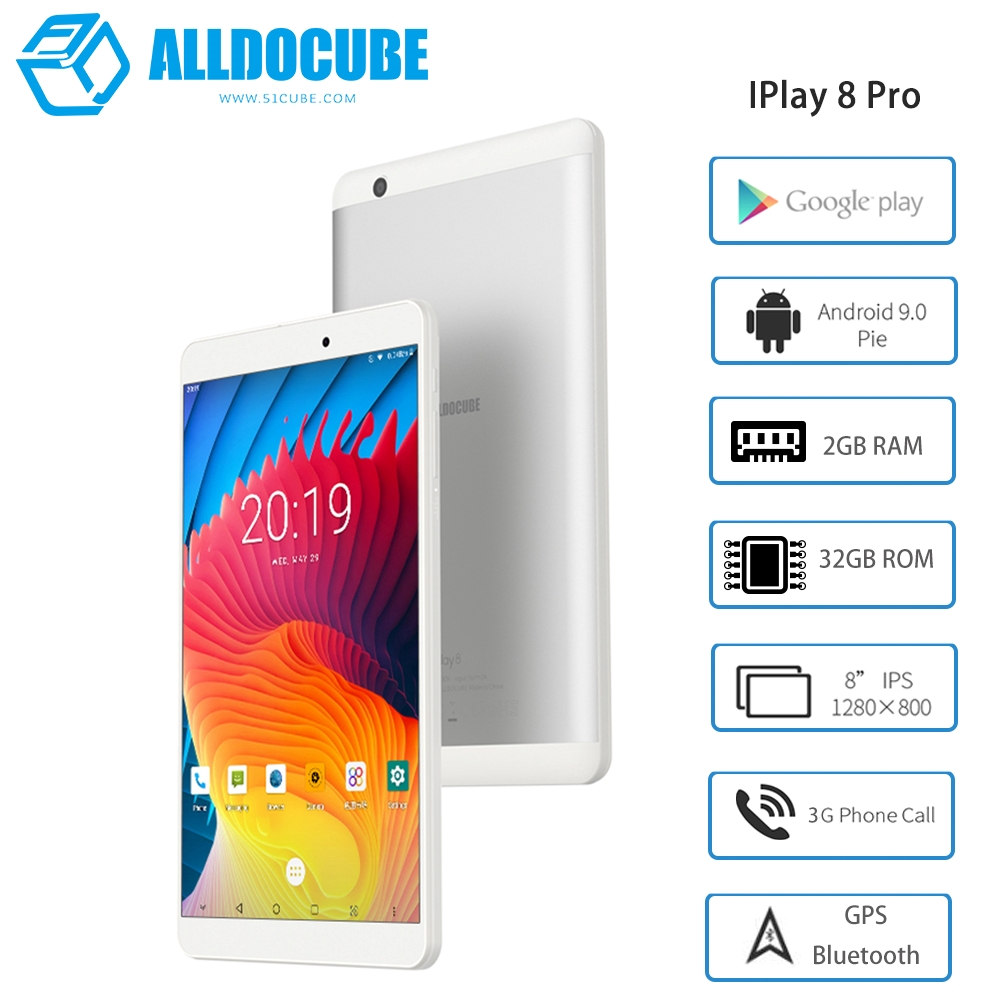 Alldocube IPlay8 Pro MTK8321 Quad Core 8inch 1280*800 IPS 2GB Ram 32GB Rom Android 9.0 Dual 3G GPS Tablet PC