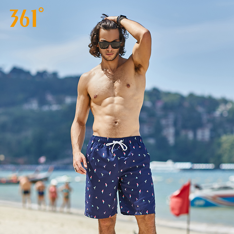 361 Beach Shorts Men Vocation Casual Sport Swimwear Short Pants Beach Board Shorts Pool Hot Spring Plus Size Surfing Trunks
