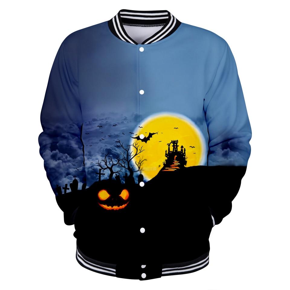 Luckyfridayf 2018 Funny Halloween 3d Baseball Jacket Autumn Women/men 2018 Fashion Pumpkin Face Coats Casual Jacket Clothes 4xl Basic Jackets