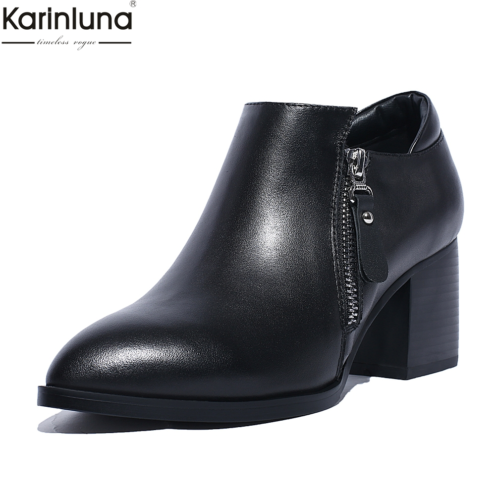 Karinluna Brand New Dropship square Heels Genuine cow Leather Boots Women Shoes zipper pointed toe elegant Shoes Ankle BootsKarinluna Brand New Dropship square Heels Genuine cow Leather Boots Women Shoes zipper pointed toe elegant Shoes Ankle Boots