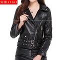Plus size mulheres nova moda de alta qualidade da pele de Carneiro lapela rebite zíper de metal cinto Fino era fina jaqueta de couro genuíno preto XXXL