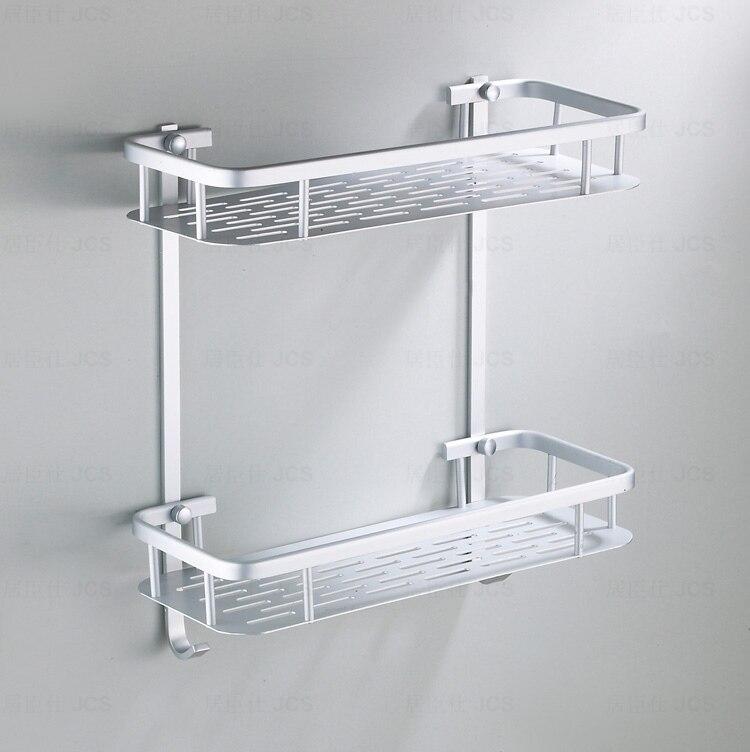 Bathroom Shelves Two Layer Chrome Silver Wall Rack Towel Hooks ...