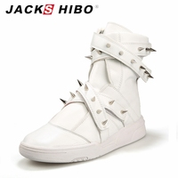 JACKSHIBO 2016 Brand Autumn Winter Mens Boots Design Fashion Rivets Hip Hop Street Boots Shoes White