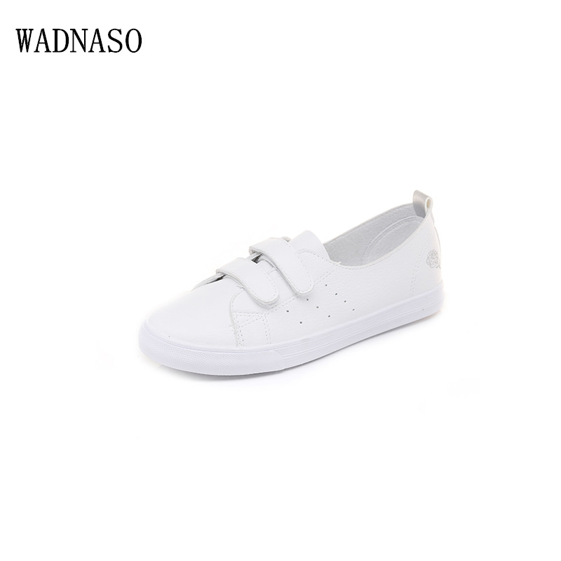 2018 Summer New Fashion Women Hook&Loop Shoes Casual PU Leather Embroider Shallow White sneakers shoes Classic comfortable Shoes