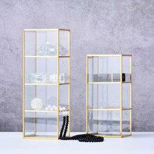 Золотой косметический ящик для хранения стола Настольный отделочный стеклянный плед ювелирных изделий классификация лоток для хранения большой емкости туалетный