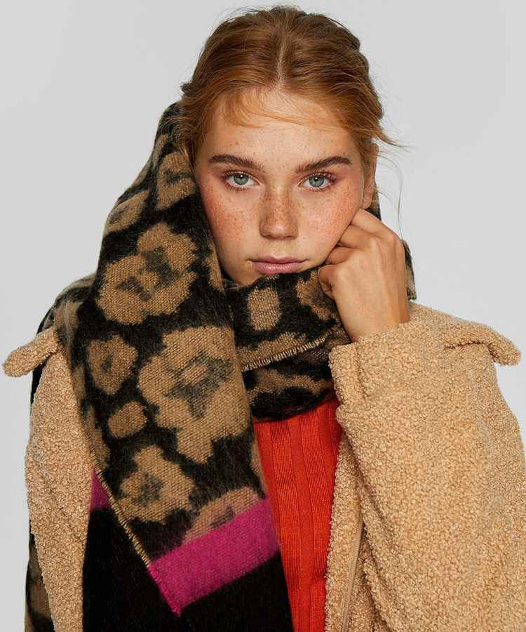 POBING Winter Cashmere Scarf Women za Red Striped Scarves Leopard Shawl Wraps Thicken Warm Unisex Basic Blanket Tassel Pashmina