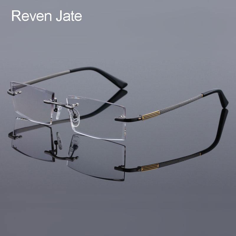 ad2dc467e6 Reven Jate 5904 Titanium Rimless Diamond Cutting Man Glasses Frame Optical  Prescription Eyeglasses Men Eyewear Fashion-in Eyewear Frames from Apparel  ...
