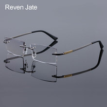 Reven Jate 5904 Titanium Rimless Diamond Cutting Man Glasses Frame Optical Prescription Eyeglasses Men Eyewear Fashion