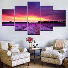 Canvas HD Prints Pictures Home Decor Framework 5 Pieces Sunset Glow Purple Lavender Fields Landscape Paintings Wall Art Posters