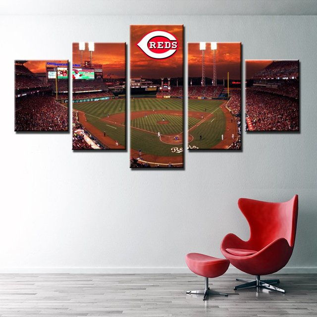 landscape canvas painting cincinnati reds baseball field wall art picture home decor artwork modular high quality - Home Decor Cincinnati