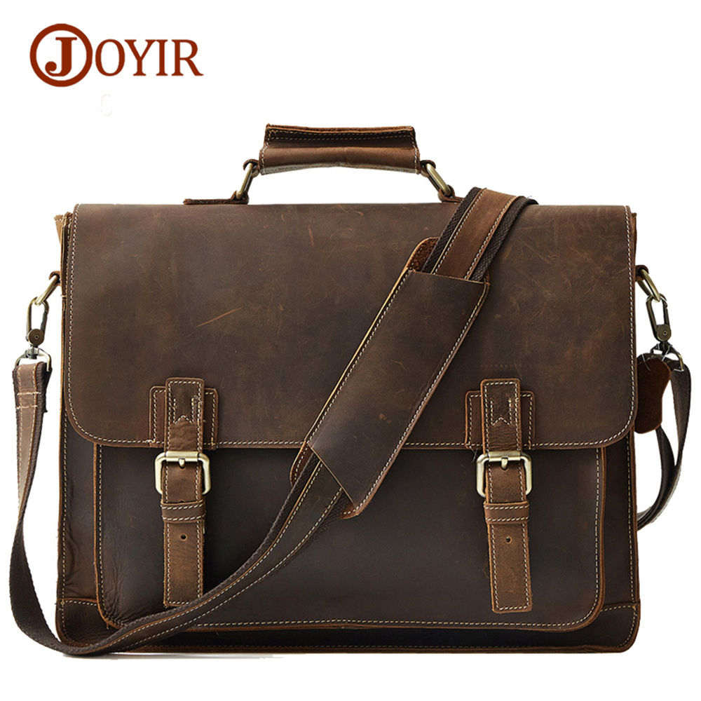 JOYIR men's briefcase crazy horse genuine leather men's business bag vintage messenger shoulder bag for male men briefcase joyir men briefcase real leather handbag crazy horse genuine leather male business retro messenger shoulder bag for men mandbag